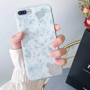 Luxury Silver Marble Phone Case For iPhone 8,8+, X